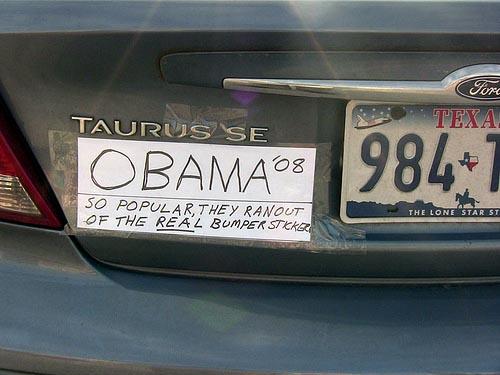 Homemade obama bumper sticker