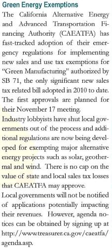 Energy Exemptions